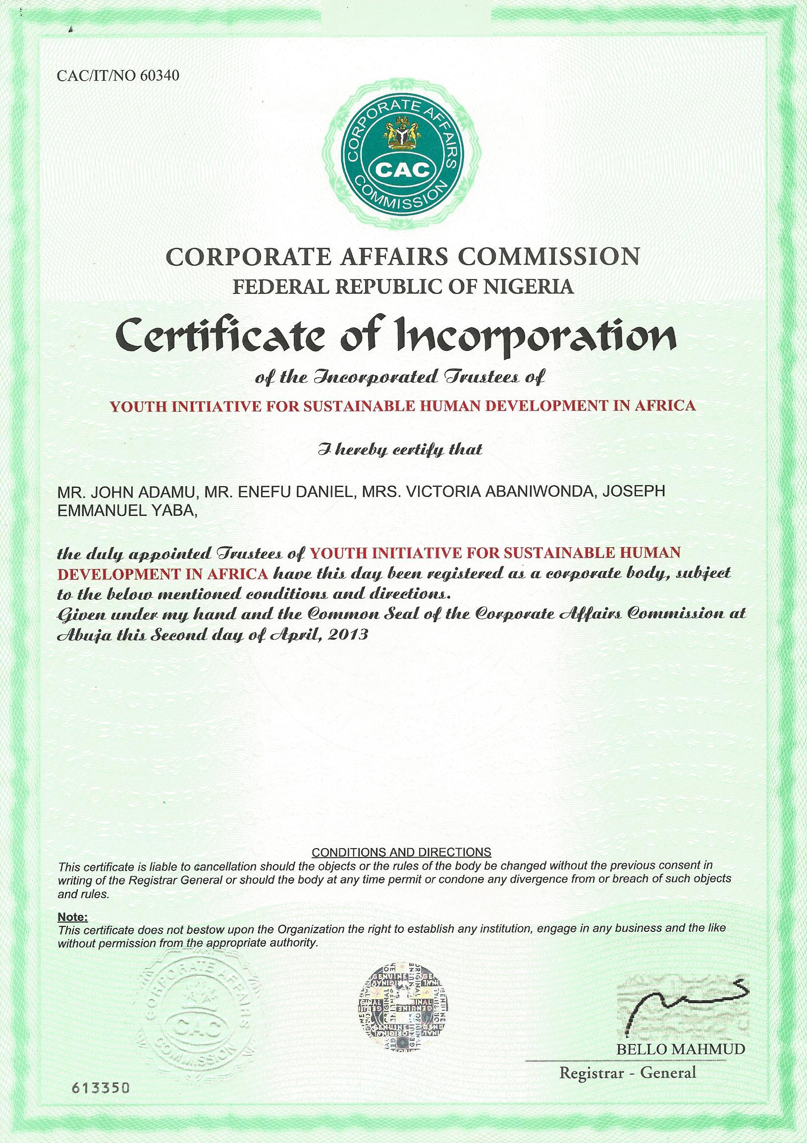CAC Certificate for YiSHDA